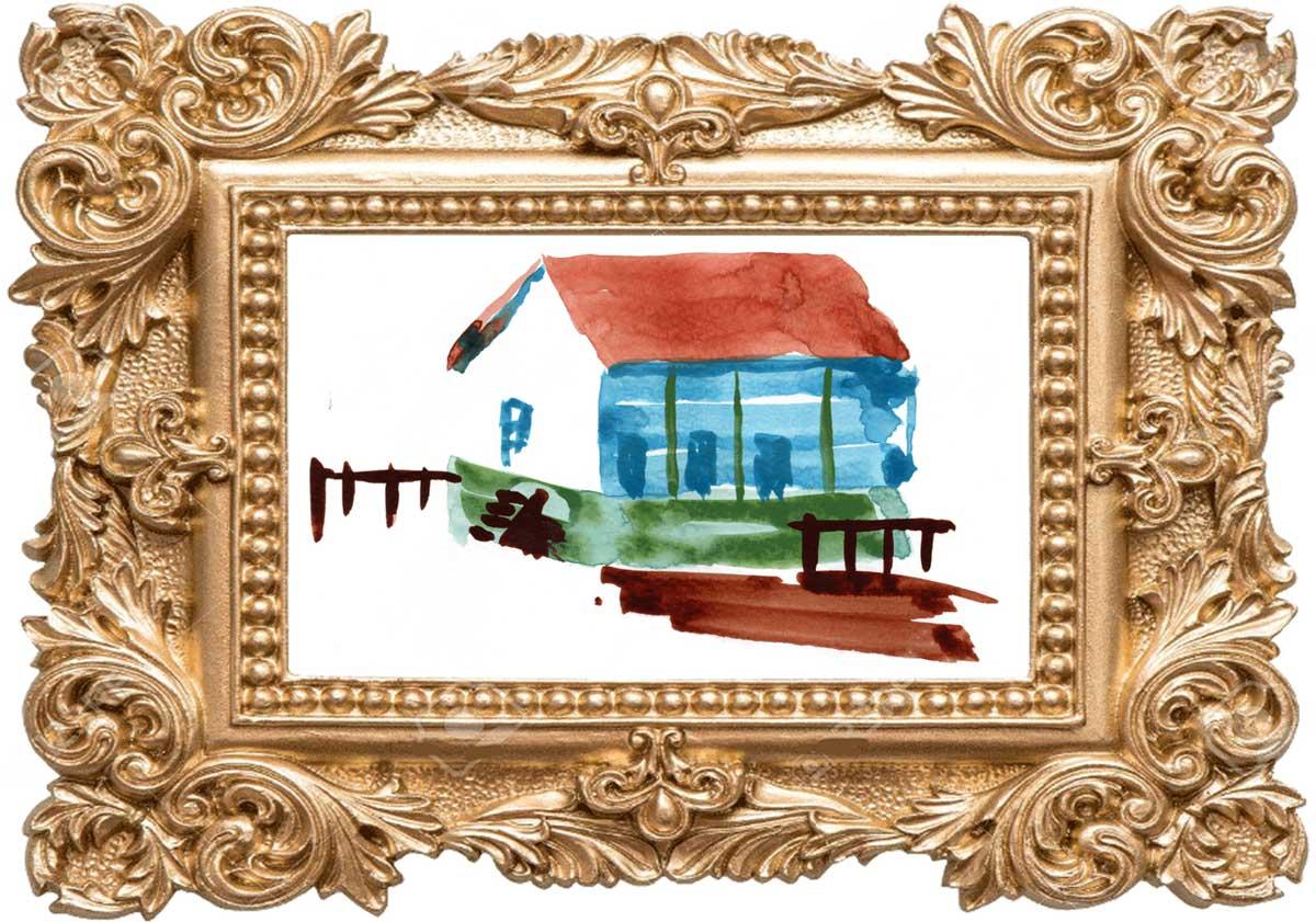 家の水彩画(額縁付き処女作)