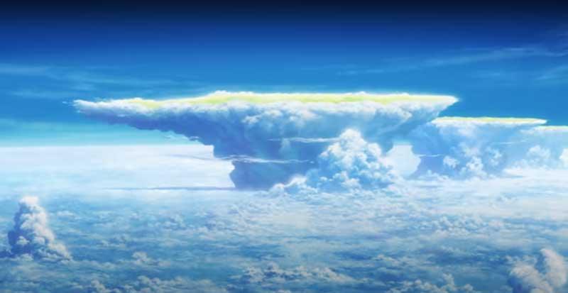 連なる「かなとこ雲」