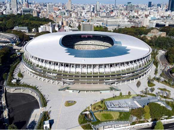 オリンピックスタジアム(新国立競技場)の上空からの外観