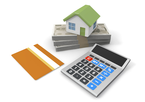 住宅模型、札束、銀行通常と電卓