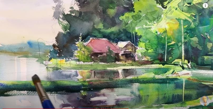 田舎の風景(水彩画:柴崎春通)