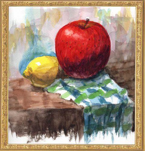レモンと浮上しているりんご(painted on Oct.18,2020)