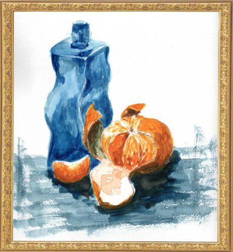 剥きかけのみかんと光沢のない瓶(painted on Sep.20,2020)