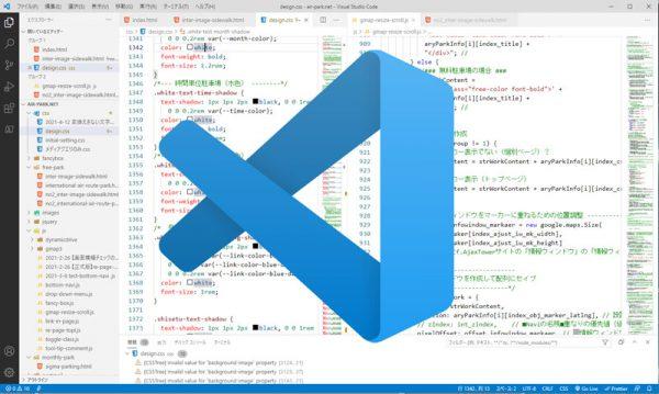 VSCodeの画面とロゴ