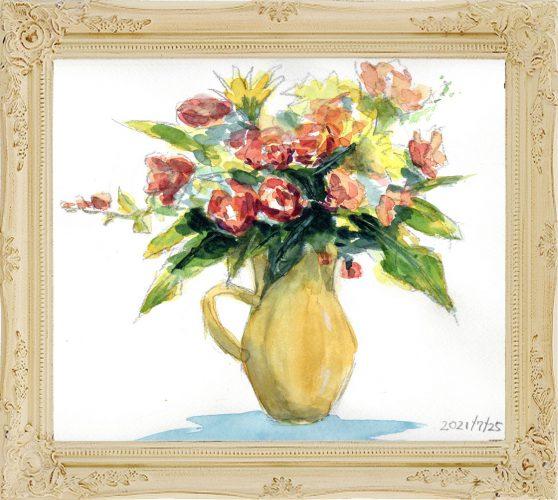 花瓶の花①(painted on Jul.25,2021)