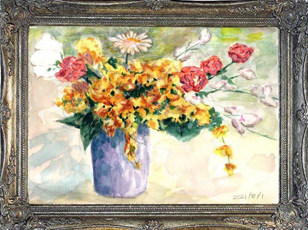 花瓶の花②(painted on Aug.1,2021)
