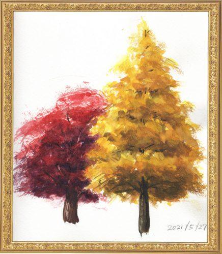 紅葉の樹木(painted on May27,2021)